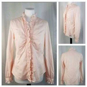 Esprit Pastel Pink Ruffled High Neck Ruched Blouse
